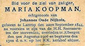 Bidprentje Maria Koopman Lattrop 1844 Albergen1906