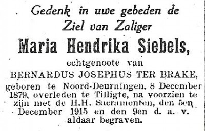 Bidprentje Siebels Hendrika Maria ev Bernardus Josephus ter Brake Noord Deurningen 1879 Tilligte 1915