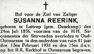Bidprentje Susanna reerink geb Lattrop 1856 ovl Oud Ootmarsum 1938