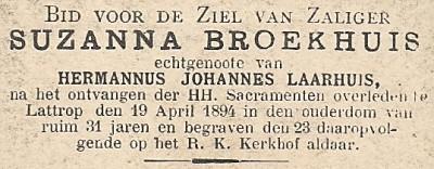 Bidprentje Suzanna Laarhuis-Broekhuis Lattrop 19-04-1894