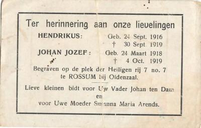Bidprentje ten-Dam Hendrikus 1916 1919 en Johan Jozef 1918-1919 Volthe