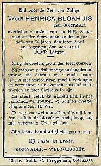 Bidprentje Wed Henrica Blokhuis geb Oortman Lattrop