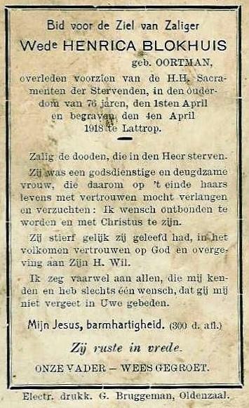 Bidprentje wed Henrica Blokhuis-Oortman Lattrop 1842-1918
