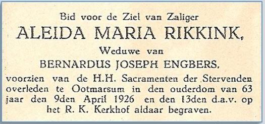Bidprentje Aleida Maria Rikkink Klein Agelo