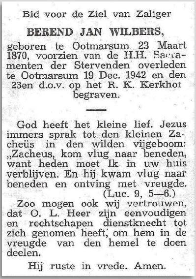 Bidprentje Berend Jan Wilbers Ootmarsum