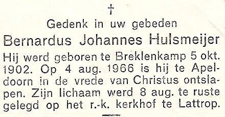 Bidprentje Bernardus Johannes Hulsmeijer (op Roepe) Breklenkamp 1902-1966