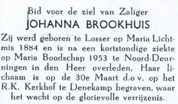 Bidprentje Brookhuis Johanna 1884-1953