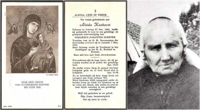 Bidprentje en foto Koehorst Aleida 1866-1954