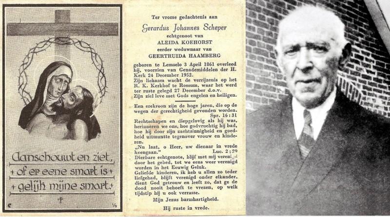 Bidprentje en foto Scheper Gerardus-Johannes1861-1952