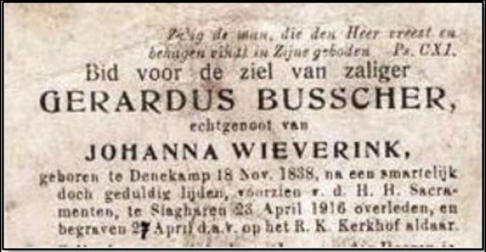 Bidprentje Gerardus Busscher Slagharen