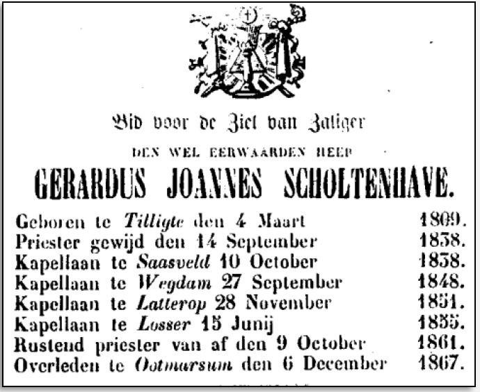 Bidprentje Gerardus Joannes Scholtenhave