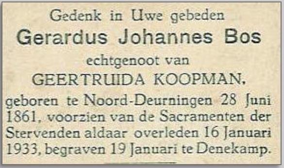 Bidprentje Gerardus Johannes Bos Denekamp