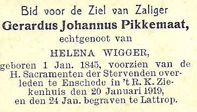 Bidprentje Gerardus Johannus Pikkemaat op 'BekJan' Lattrop