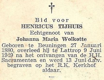 Bidprentje Henricus Tijhuis 1880-1949