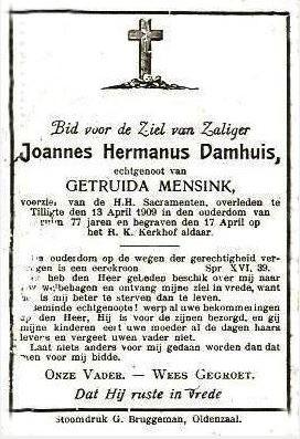 Bidprentje Joannes Hermanus Damhuis 1832-1909