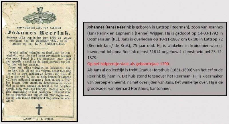 Bidprentje Joannes Reerink in Lattrop 1790-1867