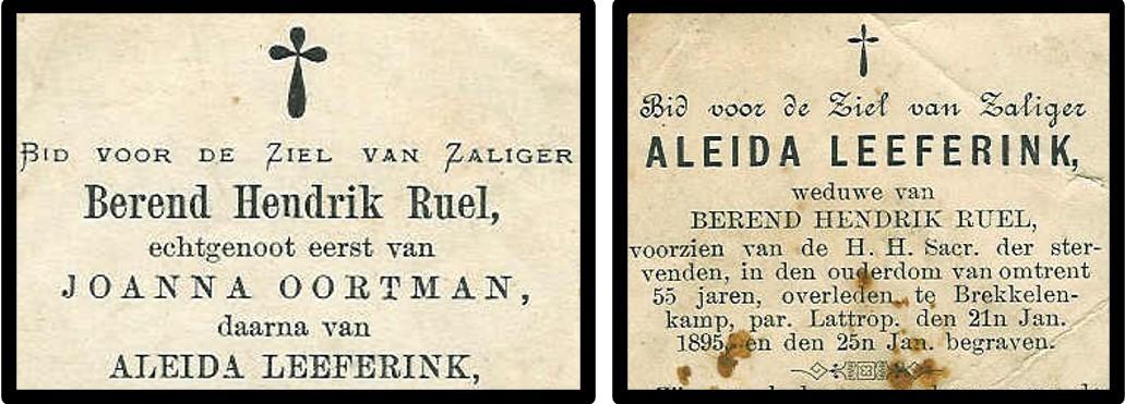 Bidprentjes Berend Hendrik Ruël en Aleida Leeferink Breklenkamp