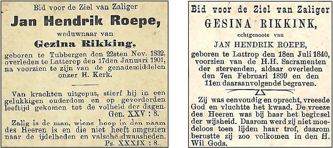 Bidprentjes Jan Hendrik Roepe (1832-1901) en Gesina Rikkink 1840-1899 Lattrop