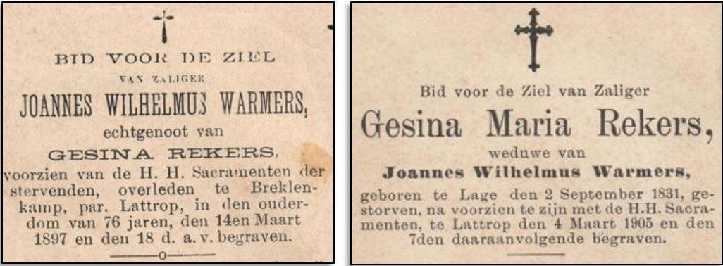 Bidprentjes Johannes Wilhelmus Warmers en Gesina Maria Rekers Breklenkamp