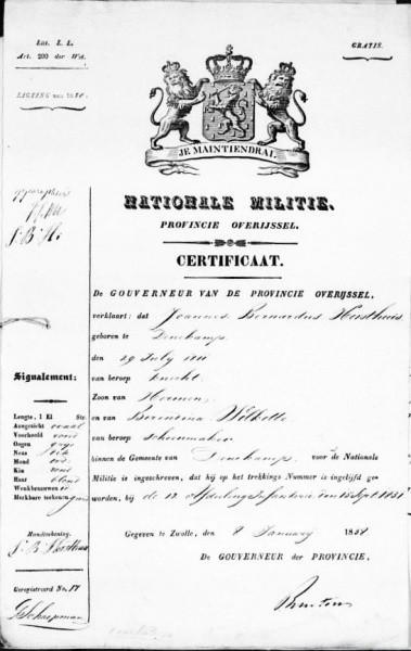 Bijlagen huwelijk Horsthuis-Oorthuis Lattrop1838