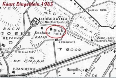Blokhuis Noord Deurningen kaart Dingeldein 1943