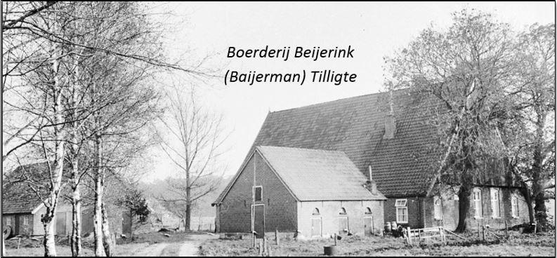 Boerderij Beijerink onder zadeldak met houten topgevels. Getoogde inrijdeur met inscriptie en datering in Tilligte