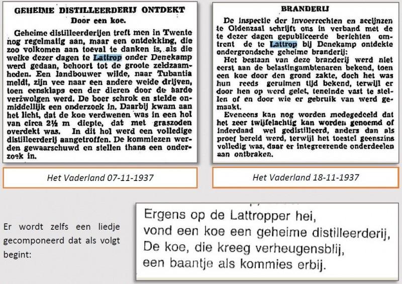 Geheime distilleerderij ontdekt in Lattrop 1937