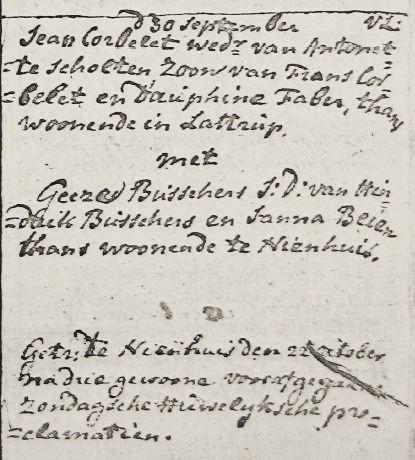 Corbelet Jean en Geeze Busschers Otr 30-09-1792 Tr 22-10-1792