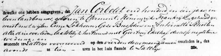 Corbolet Jan wv Enne Lokhoorn wv Geese Busscher wv Antoinette Scholten ev Geertruij Ekelhof L 06-01-1824