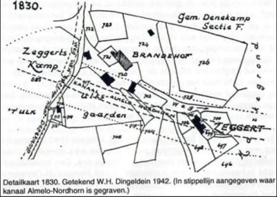 Detailkaart Dingeldein 1830 Zeggert Noord Deurningen