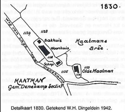 Detailkaart Maatman Noord Deurningen (getekend WH Dingeldein 1942)