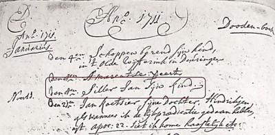 Doodenboek Denekamp Siller jan zijn kind 08-01-1711