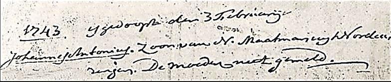 Doopboek Denekamp Johannes Antonius Maatman 3-2-1743