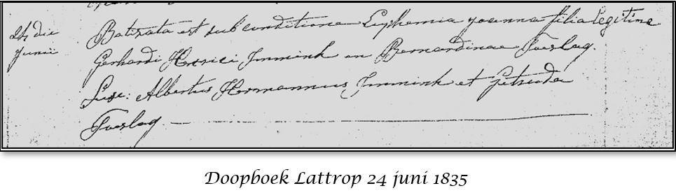 Doopboek Lattrop 24 juni 1835 Euphemia Joanna Immink