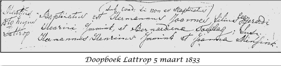 Doopboek Lattrop 5 maart 1833 Joannes Immink