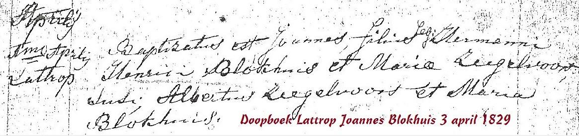 Doopboek Lattrop Joannes Blokhuis 3 april 1829