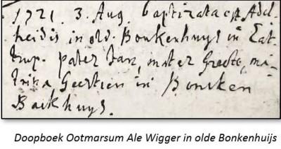 Doopboek Ootmarsum Ale Wigger in olde Bonkenhuijs Lattrop