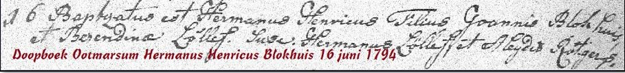 Doopboek Ootmarsum Hermanus Henricus Blokhuis 16 juni 1794
