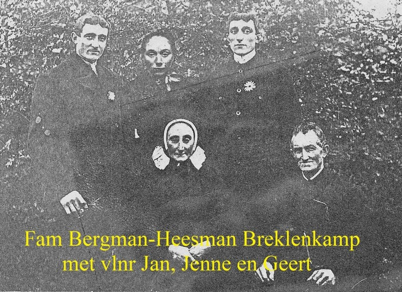 Fam Bergman-Heesman Breklenkamp met vlnr Jan, Jenne en Geert
