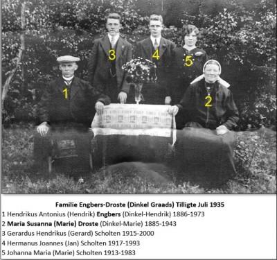 Familie Engbers-Droste  (Dinkel Graads) Tilligte  Juli 1935