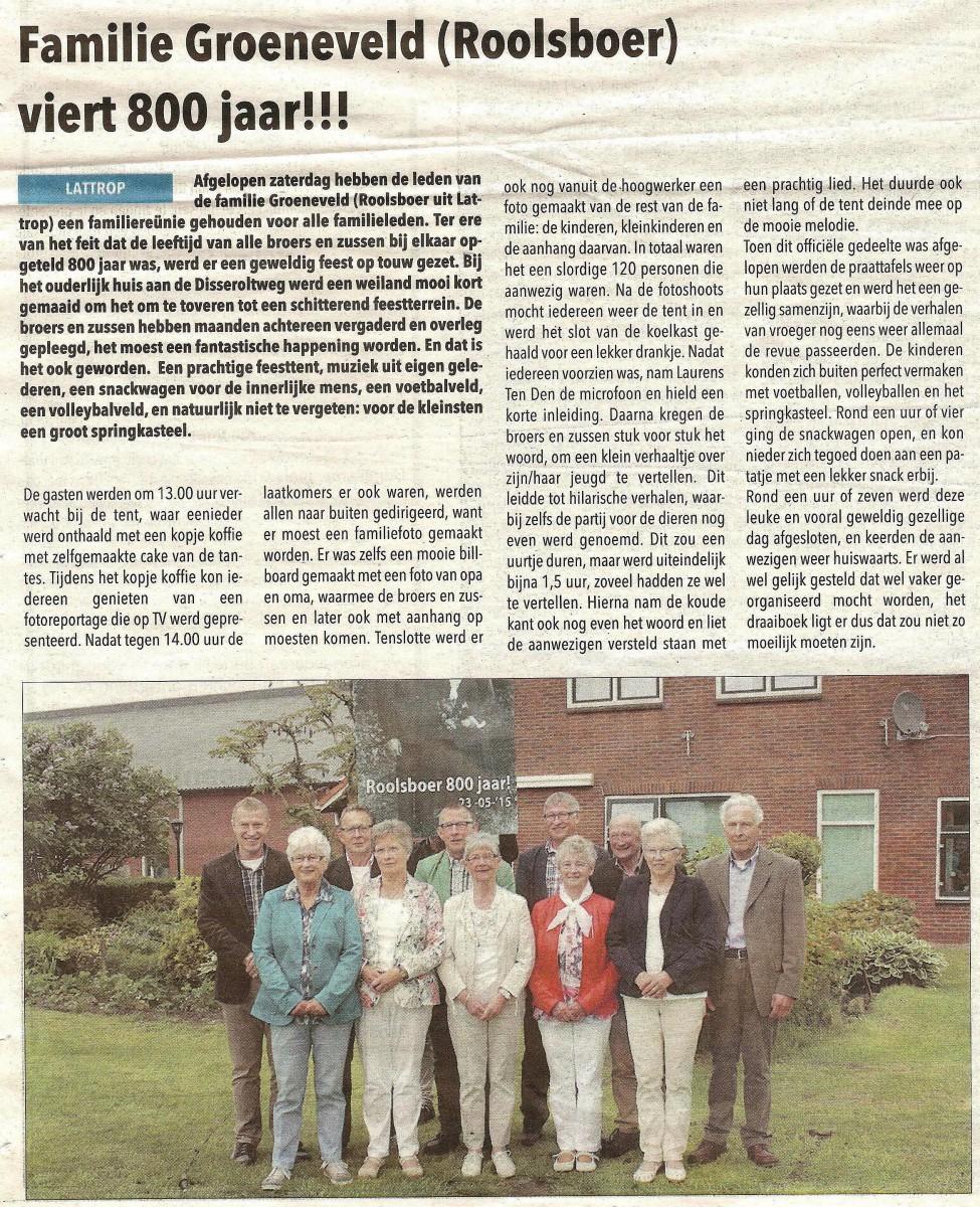 Familie Groeneveld (Roolsboer) in Lattrop viert 800 jaar (Dinkelland Visie 27-05-2015)
