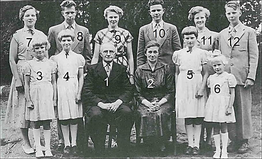 Familie Huisken-Nolten (ool Bossink) Lattrop ca. 1955