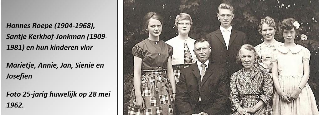 Familie Roepe-Kerkhof-Jonkman op Mössen in Lattrop 25-j huwelijk 1962
