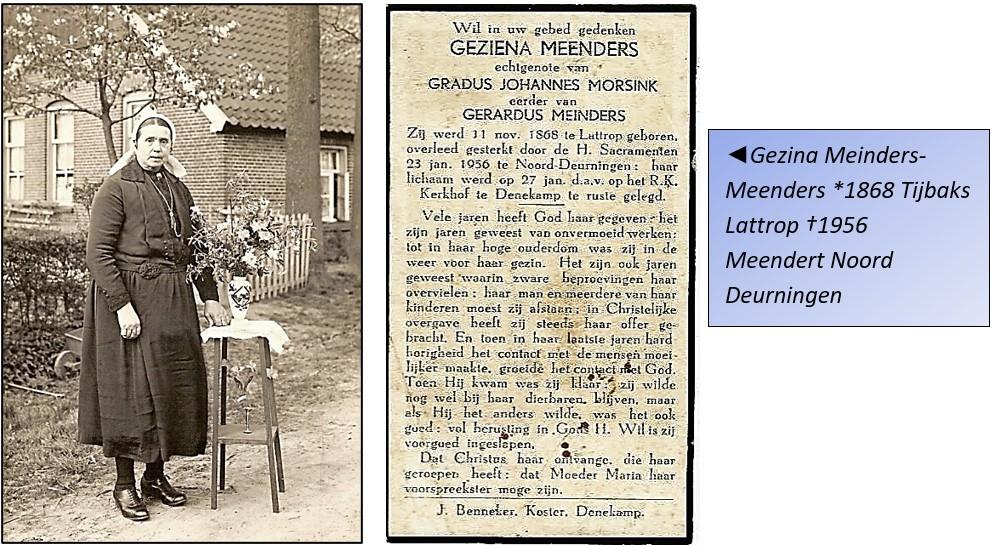Foto en bidprentje Gezina meinders-Meenders geb 1868 Tijbaks Lattrop ovl. 1956 Meendert Noord Deurningen