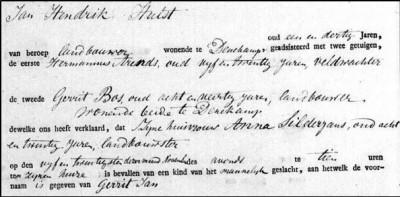 Geboorte akte Gerrit Jan Hulst 25-11-1830