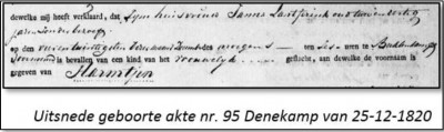 Geboorte akte Harmtjen Leugten Breklenkamp 25-12-1820