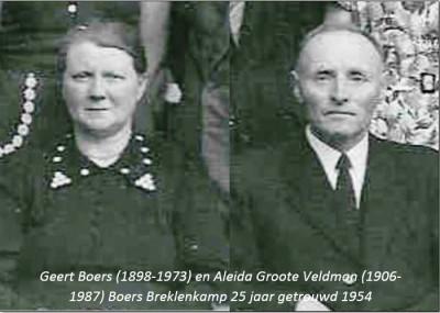 Geert Boers (1898-1973) en Aleide Groote Veldman (1906-1987 25 jr getrouwd 1954