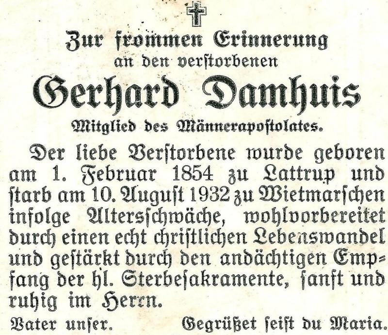Bidprentje Gerhard Damhuis ev Anna Schnoing Wietmarschen1854-1932