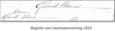 Gerrit Boers Register van naamsaanneming 1812