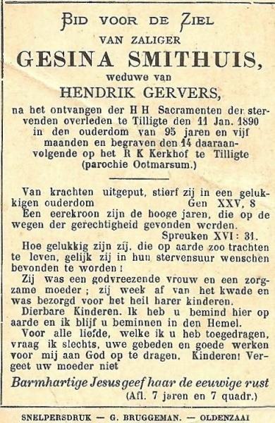 Bidprentje Gesina Gervers-Smithuis Tilligte 1890